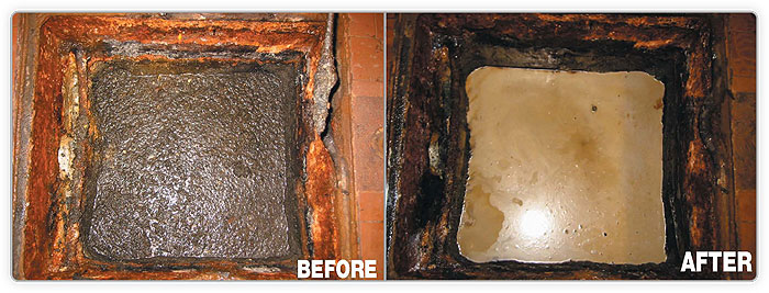 Sump pit degreasing and deodorizing before and after
