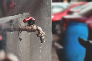 Copper water supply pipe running in commercial or public places