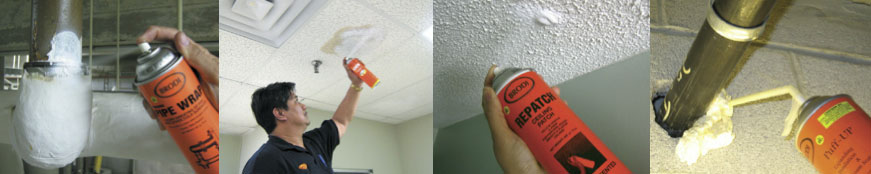 Repair Ceiling Tiles and Pipes Anti-sweat pipe insulation spray on