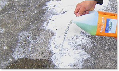 A high performance, fast acting, safe ice melter which generates heat upon contact with snow and ice