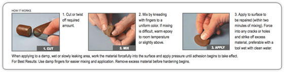brofix how to mix the epoxy repair putty