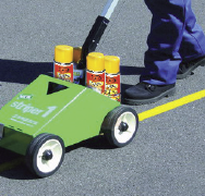"An easy to use, durable four wheeled machine that applies crisp, even 2"" to 4"" lines on concrete and asphalt."